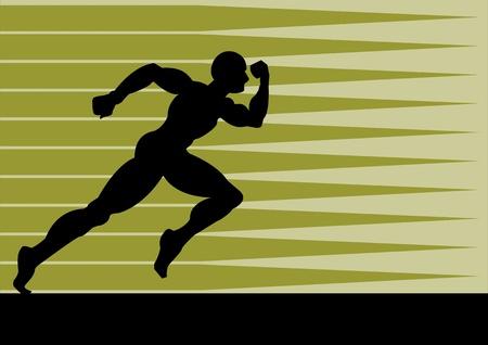 atleta corriendo: Una ilustraci�n vectorial de un hombre que corre r�pido para perseguir su objetivo Vectores