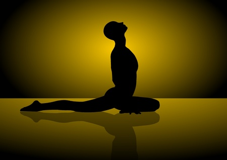 A Vector silhouette of a man doing yoga Vector