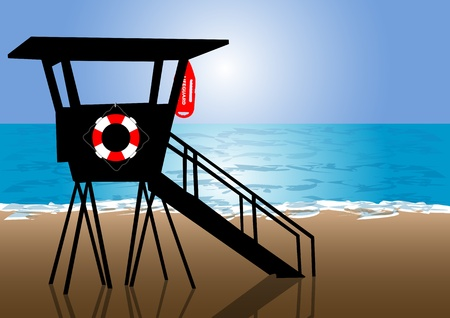A Vector illustration of a lifeguard hut at beach Illustration