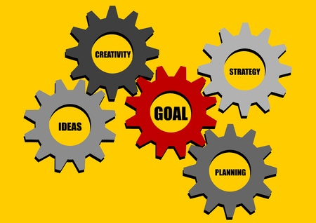 achieve goal: A Stock vector of synergic gears to achieve goal