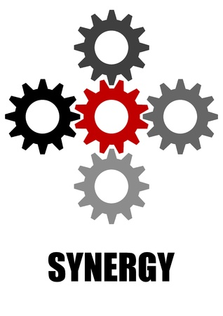 A Stock vector of 5 synergy gears