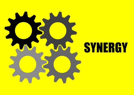 A Vector illustration of 4 synergy gears Illustration