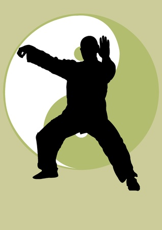 tai chi:  A Vector illustration of A man doing Tai Chi