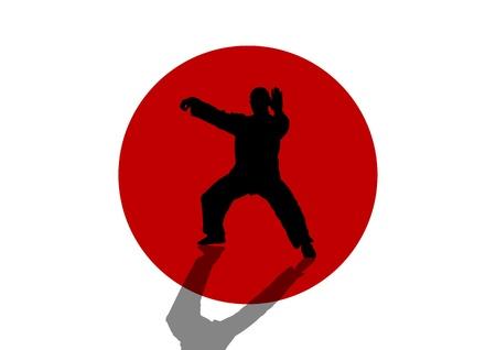 chi: Una ilustraci�n vectorial de un hombre practicando Tai Chi