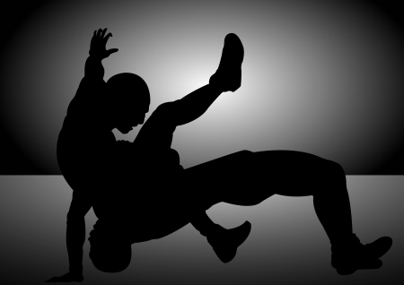 grappling: A Stock Vector silhouette of 2 men wrestling