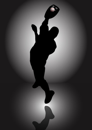 A Stock silhouette of a man catching a baseball Stock Vector - 12498165