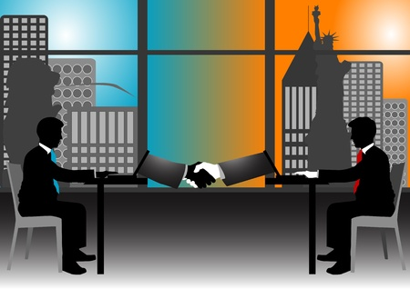 A Stock of 2 men got deal with just using internet Stock Vector - 12498166