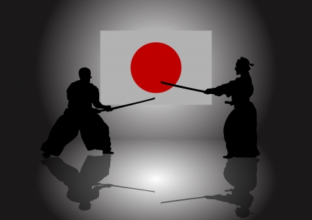 kendo: A Stock of 2 men training kendo at dojo