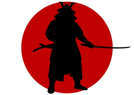 A Stock of silhouetted Japan Samurai King standing ready to fight