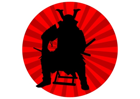 A Stock of silhouetted Japan Samurai King sitting on a wooden bench