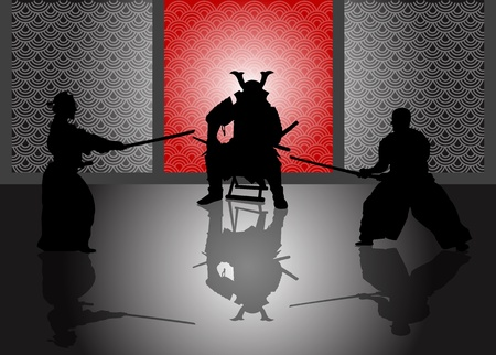 kendo: A stock illustration of a Japan Landlord watching duel