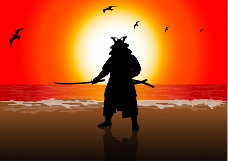 samurai: A stock illustration of a Japan Landlord on Sunset Beach Illustration