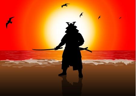 samoerai: Een stock illustratie van een Japan verhuurder op Sunset Beach Stock Illustratie