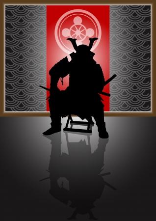 samourai: Une illustration de stock d'un propriétaire foncier du Japon assis sur le trône