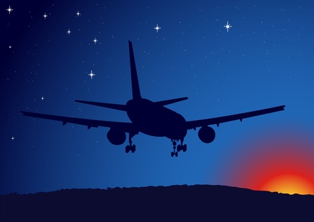An illustration of an airplane flying at dawn Illustration