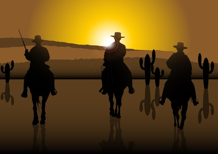 An illustration of American Riders at sunny desert Stock Vector - 12720997