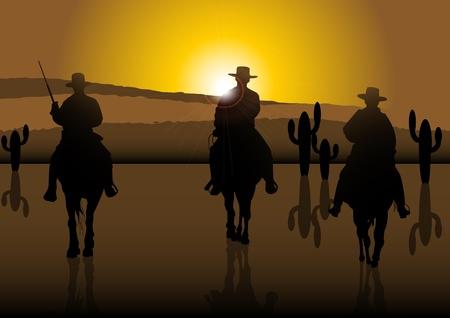 An illustration of American Riders at sunny desert Stock Vector - 12720997