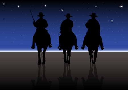 An illustration of American Riders at night Vector