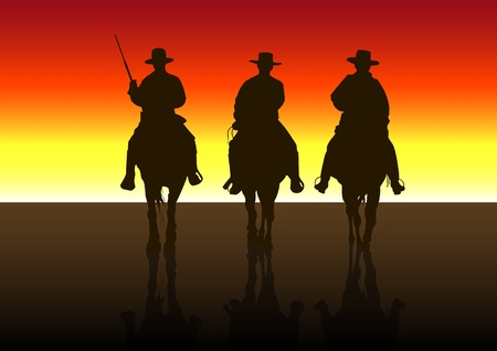 cowboy on horse: An illustration of American Riders at Sunset