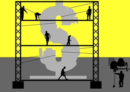 reconstrução: An illustration of Re-Construction of Dollar in Yellow Background