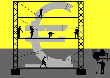 An illustration of Re-Construction of Euro in Yellow Background
