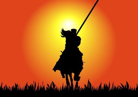 horse warrior: A Stock illustration of Horse rider warrior at sunset