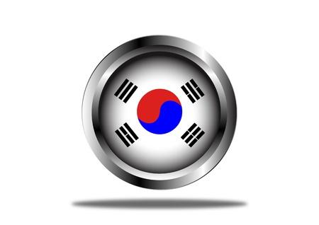 seoul: A Stock Vector illustration of South Korea Flag Button