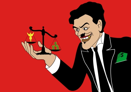 A Stock  illustration of A Tycoon can rules over Law