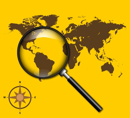 searcher: A Stock  illustration of Magnifying The World  isolated on yellow background