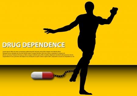 dependence: A Stock Vector illustration concept of Drug Dependence or Drug Addiction