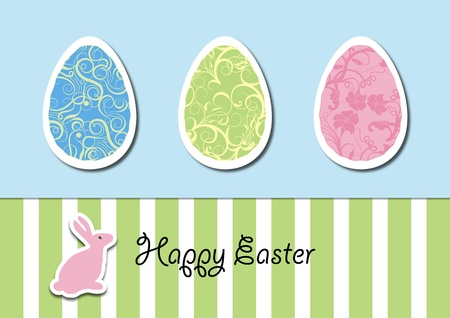 A vector illustration of Easter egg with abstract, floral, and flowery pattern and an Easter bunny Illustration