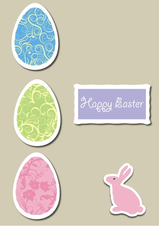 A Vector illustration of Easter Egg with flowery, abstract, and Floral pattern with an Easter Bunny Vector