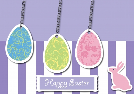 A Vector illustration of Easter Egg with flowery, abstract, and Floral pattern hanged with a tiny metal chain and an Easter Bunny