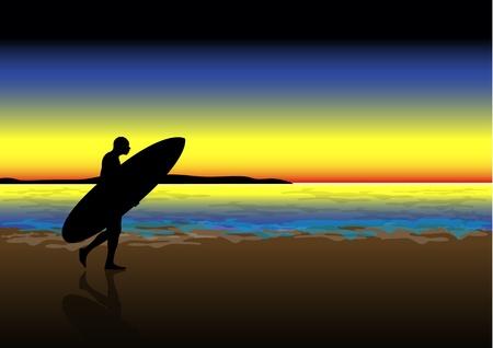Una ilustración vectorial de archivo de un surfista caminando en una playa al atardecer