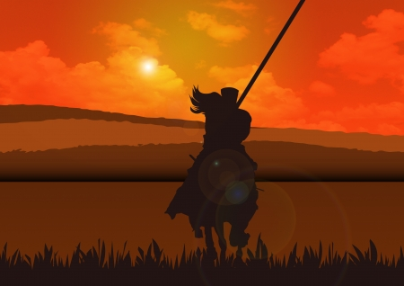 A stock image of a warrior riding his horse to seek glory and fame Stock Photo - 12958428