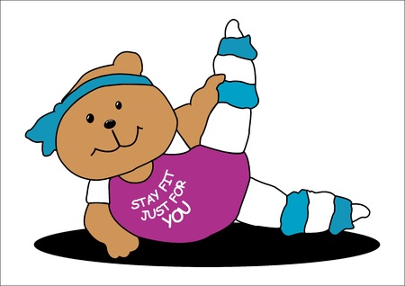 hairband: Illustration of a Bear work out to stay fit just for her love ones, isolated on white background Illustration