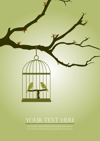 A Vintage illustration of 2 birds in a cage hanged on an old tree