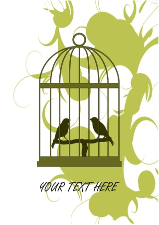 bird cage: A vector illustration of birds in Cage  It can be used for Card or Cover