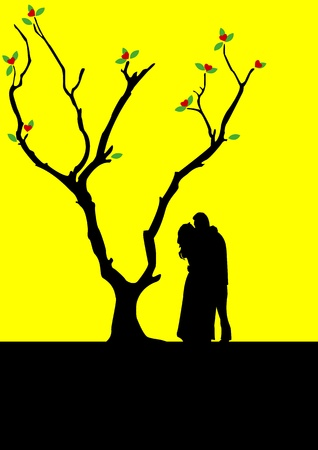 illustration of a couple kiss each other under a tree Stock Vector - 13091004