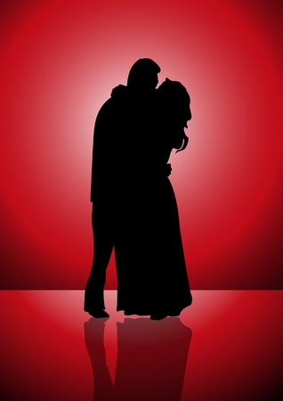 Silhouetted illustration of a couple kissing each other that represent love, emotion, and trust  Vector