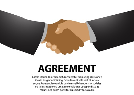 A Stock Vector illustration of 2 businessmen handshake each other as a symbolism of agreement and understanding Stock Vector - 13199187