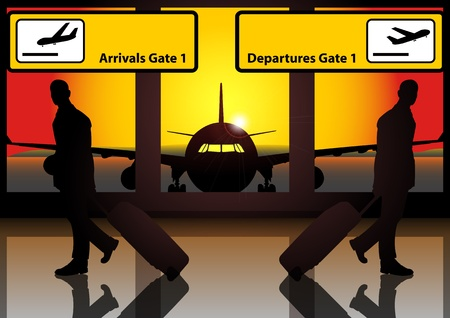 A Vector illustration of 2 businessmen walk at the airport in opposite direction