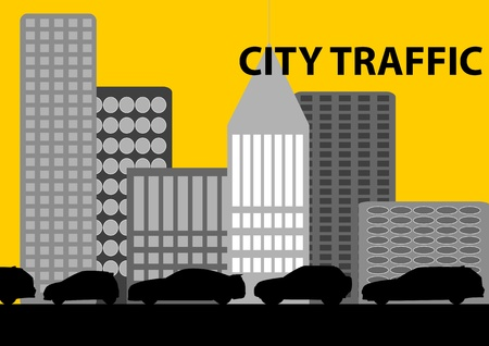 monoxide: A Stock Vector illustration of a heavy traffic in a city as a symbolism of pollution, wasting time and energy