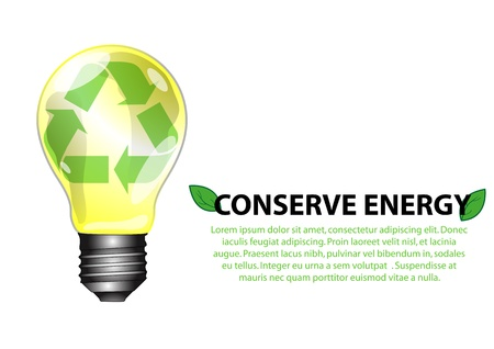 conserved: A Stock Vector illustration concept of conserve energy bulb isolated on white background  Can be use for book cover Illustration
