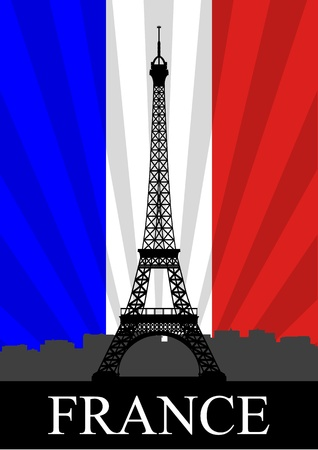flag of france: A Stock Vector illustration of Eiffel Tower and France Flag as background
