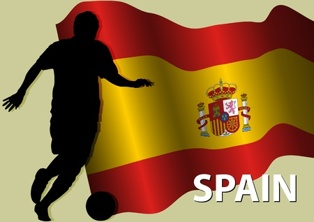 real madrid: A Stock Vector of a soccer player and Spain Flag, as a symbolism of Spain are very famous on Soccer Illustration