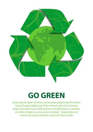 Un vector de archivo concepto de ilustración de Go Green para salvar nuestro planeta Foto de archivo - 13199216