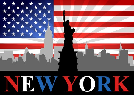 liberty: A Stock Vector of Liberty statue with New York City and USA Flag as Background