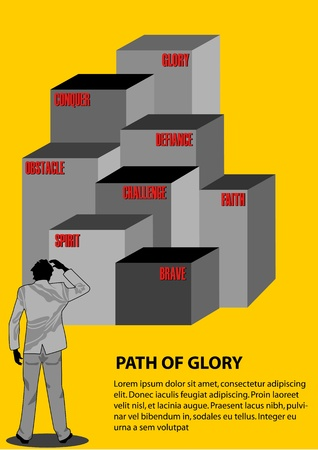 defiance: A Stock Vector Illustration of a businessman has to face his path that will leads him to Glory