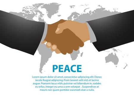 coincidir: Una ilustración vectorial de dos hombres apretón de manos entre sí como un simbolismo de la paz